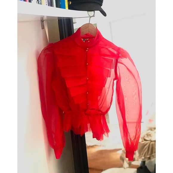 d65c514c979 zizi Tops | Vintage Red Organza Shirt Blouse In Size 24 Sm | Poshmark